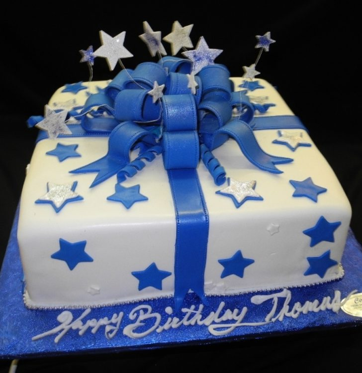 Blue Birthday Cake Blue And White Stars Fondant Birthday Cake Cakecentral