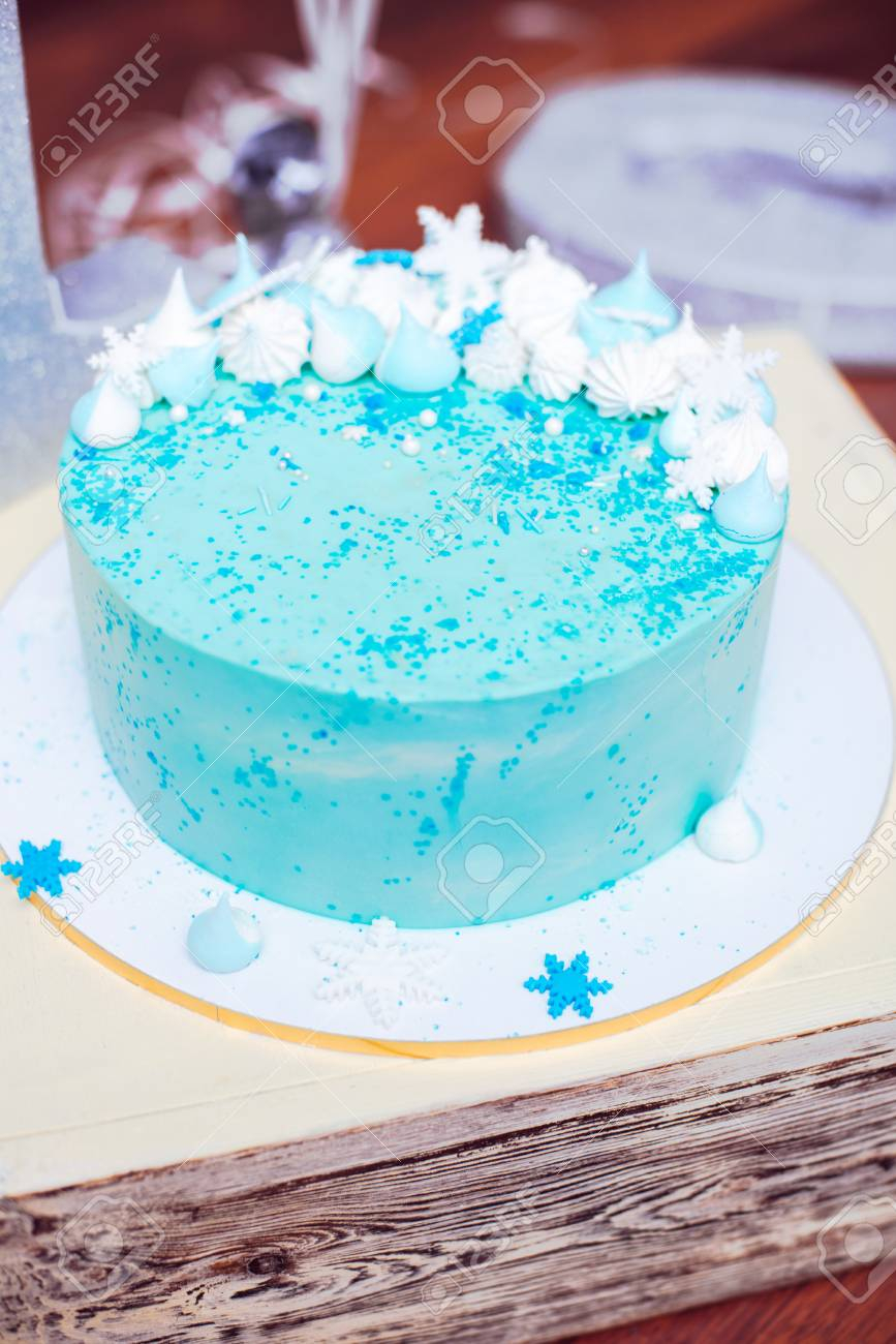 Blue Birthday Cake Blue Birthday Cake With Small Meringues And White Snowflakes Stock
