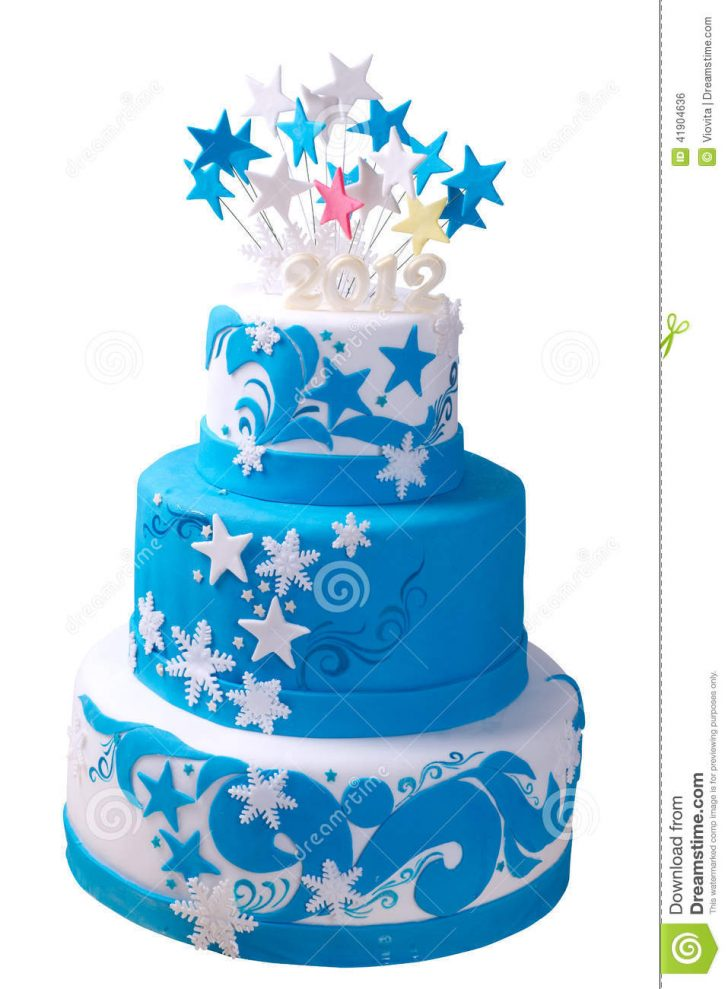 Blue Birthday Cake First Birthday Cake Stock Photo Image Of Candle Curled 41904636