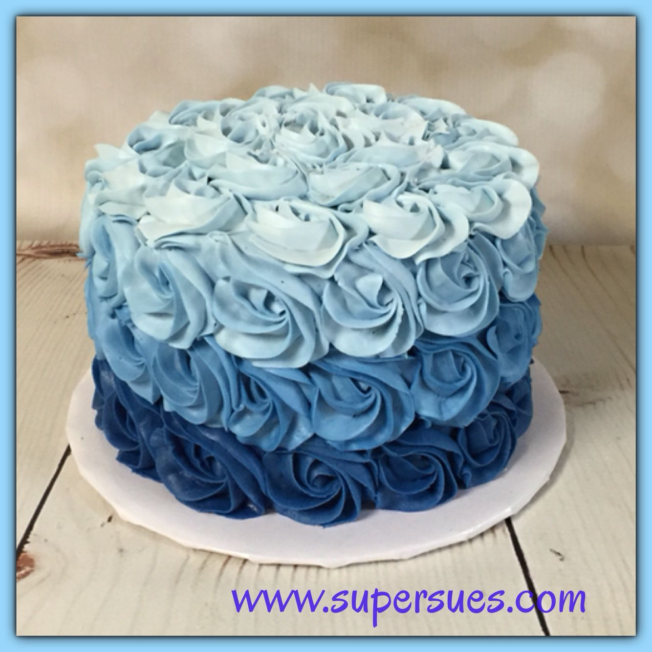Blue Birthday Cake Ombre Blue Buttercream Rose Smash Cake Smash Cakes Pinterest