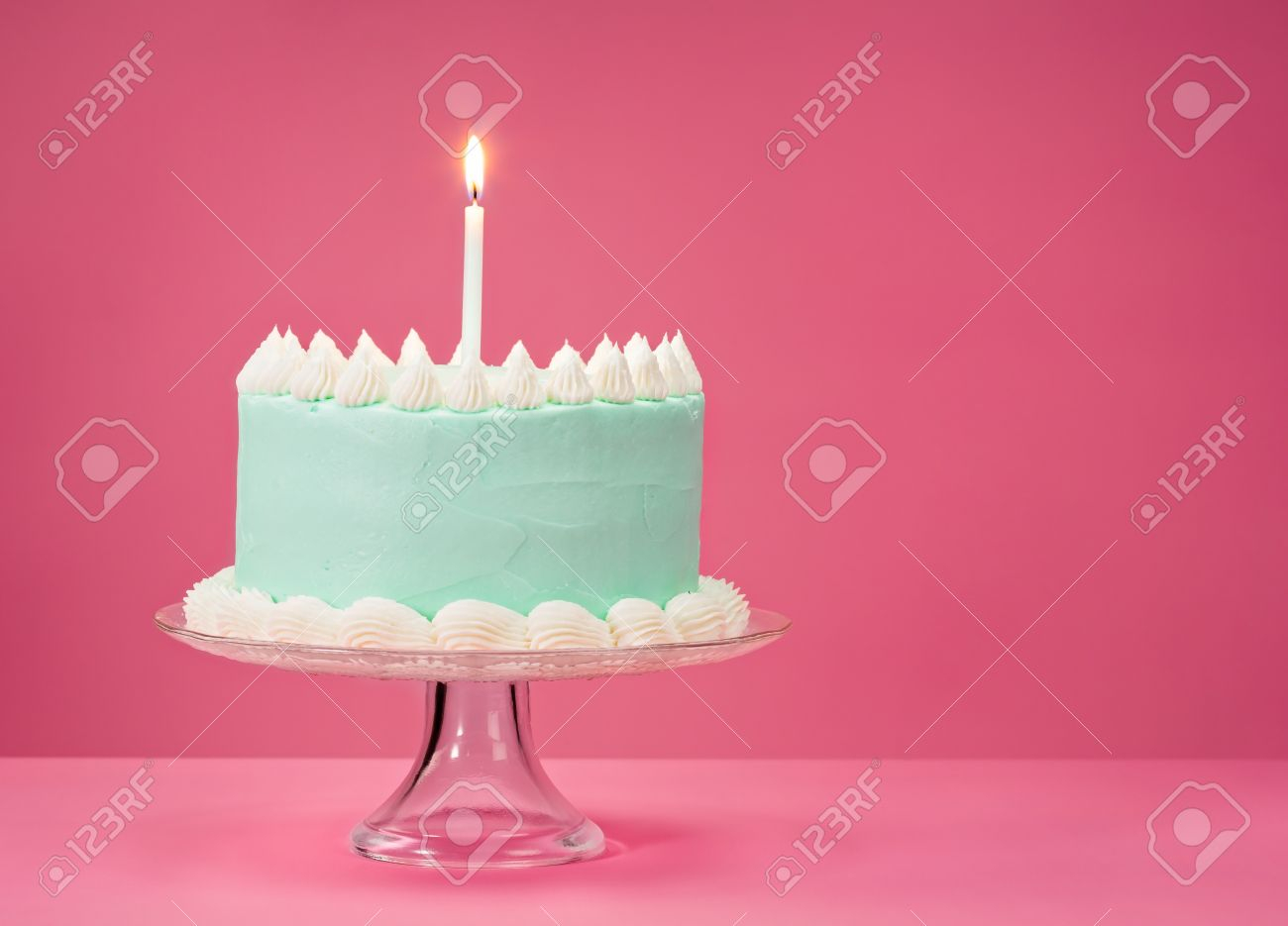 Blue Birthday Cake Pastel Blue Birthday Cake Over Pink Background With One Candle
