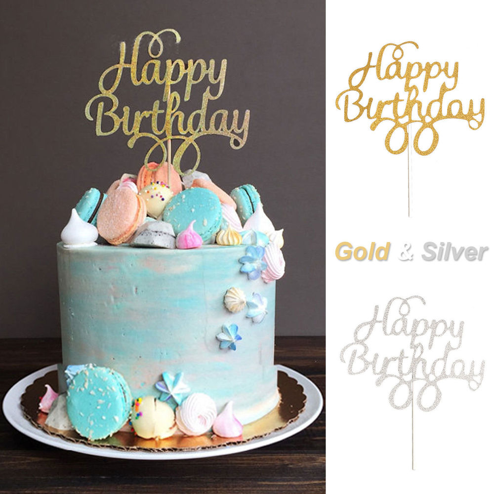 Cake Toppers For Birthday 1x Cake Topper Happy Birthday Gold Silver Glitter Party Wedding Diy