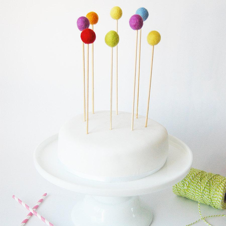 Cake Toppers For Birthday Set Of 8 Rainbow Felt Ball Cake Toppers Felt Ball Cake Topper Kids