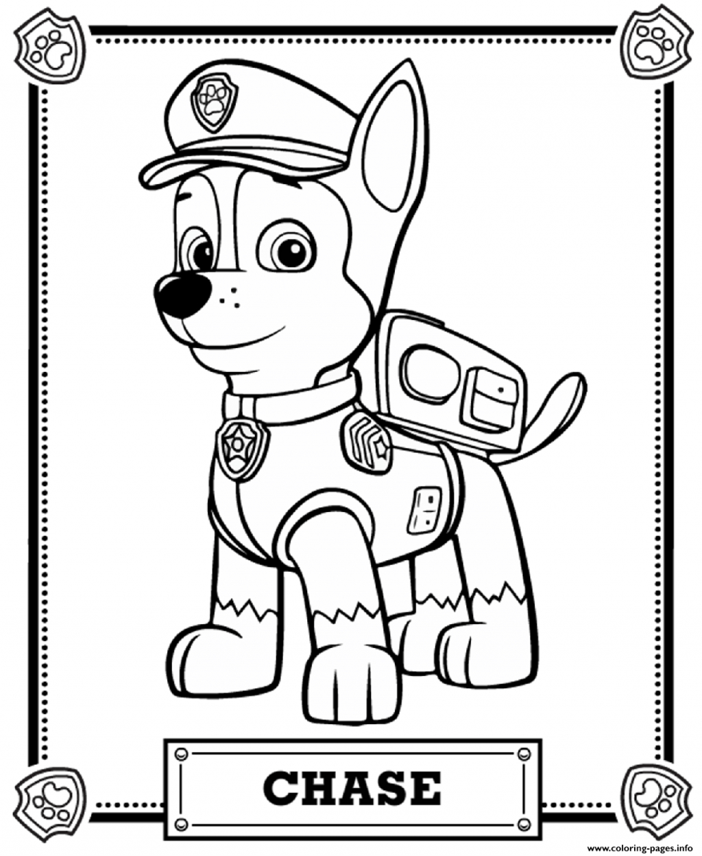 1024 x 1247 in 25 excellent picture of chase paw patrol coloring page