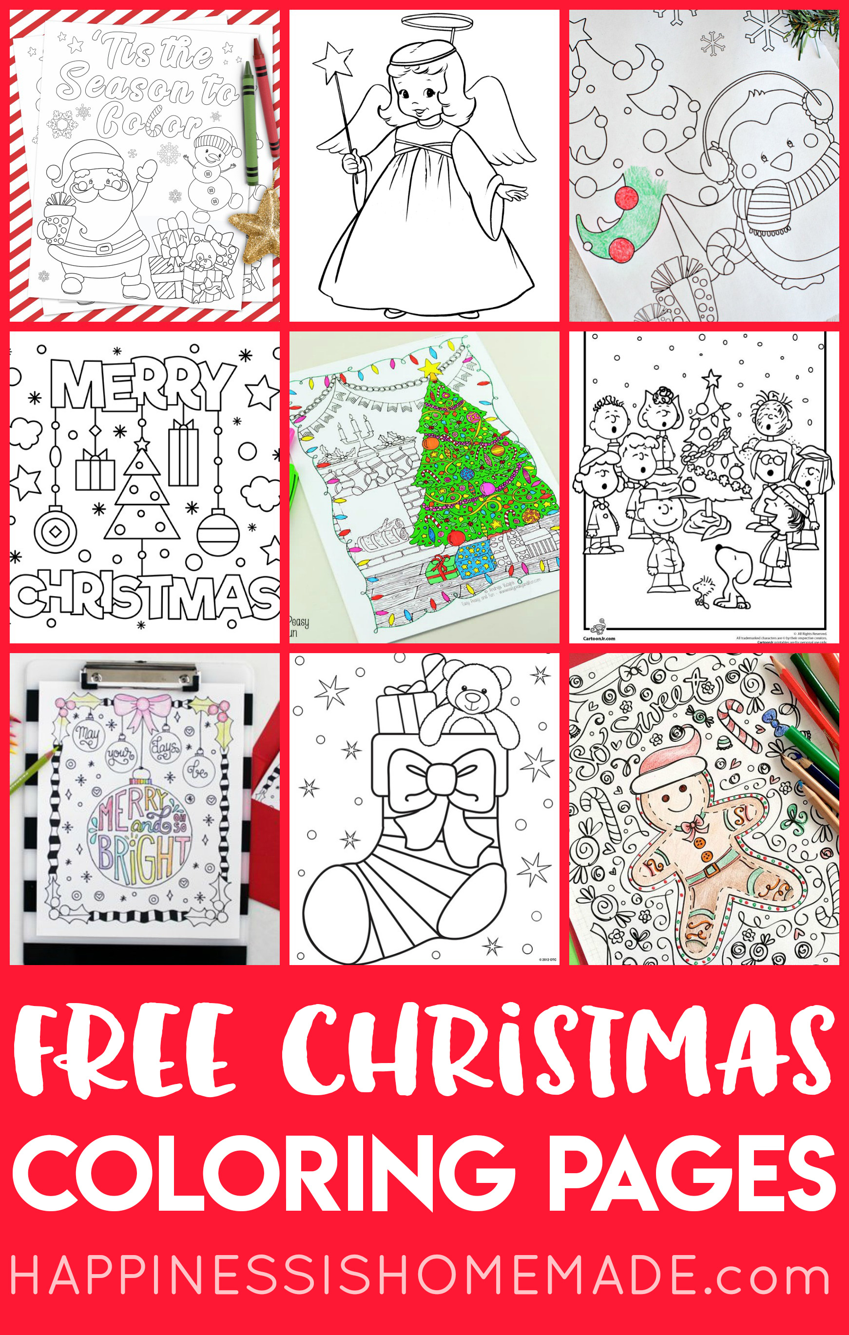 Christmas Coloring Pages To Print Free Free Christmas Coloring Pages For Adults And Kids Happiness Is