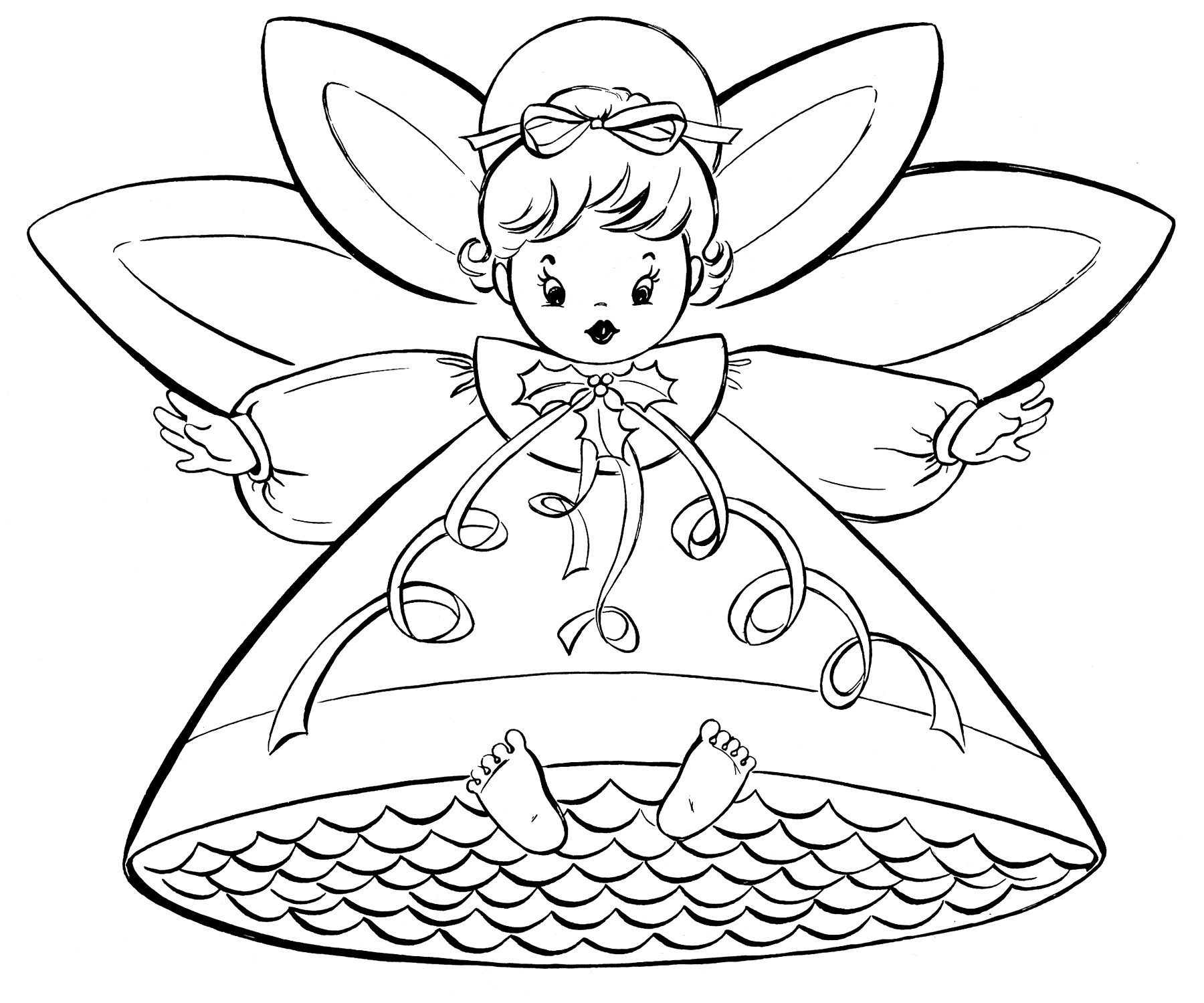 Christmas Coloring Pages To Print Free Free Christmas Coloring Pages Retro Angels The Graphics Fairy