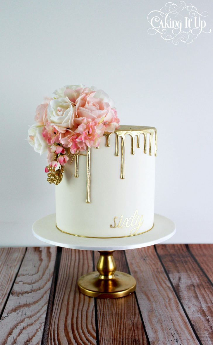 Classy Birthday Cakes Classy And Elegant Golden Drizzle 60th Birthday Cake With A Pretty