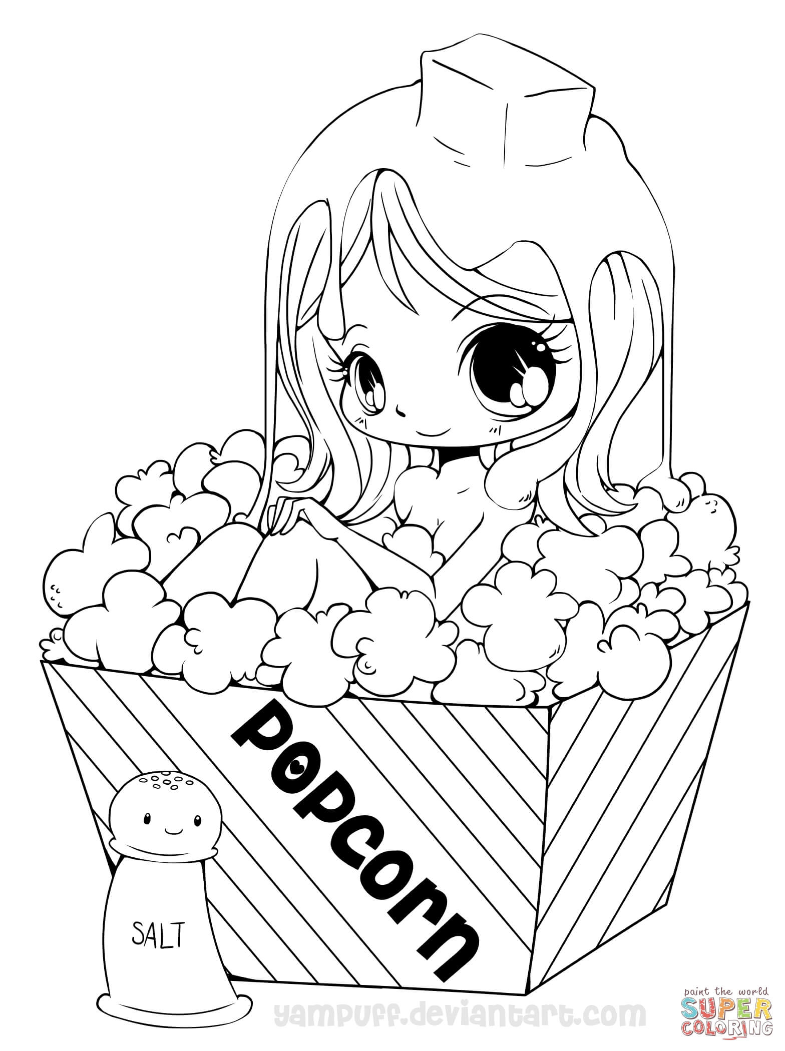 Coloring Pages Anime Chibi Cookie Girl Coloring Page Free Printable Coloring Pages