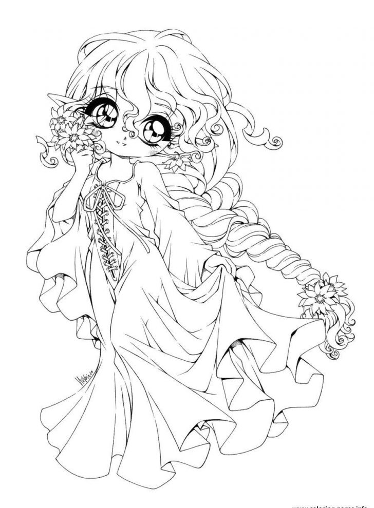 Coloring Pages Anime Cute Anime Coloring Pages Girl With Cat Girls Page Chibi Inside And
