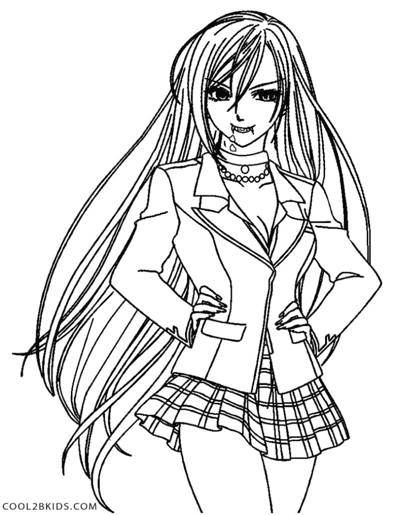 Coloring Pages Anime Girl Vampire Coloring Pages Anime Elegant Rosario Of Thanhhoacar Com
