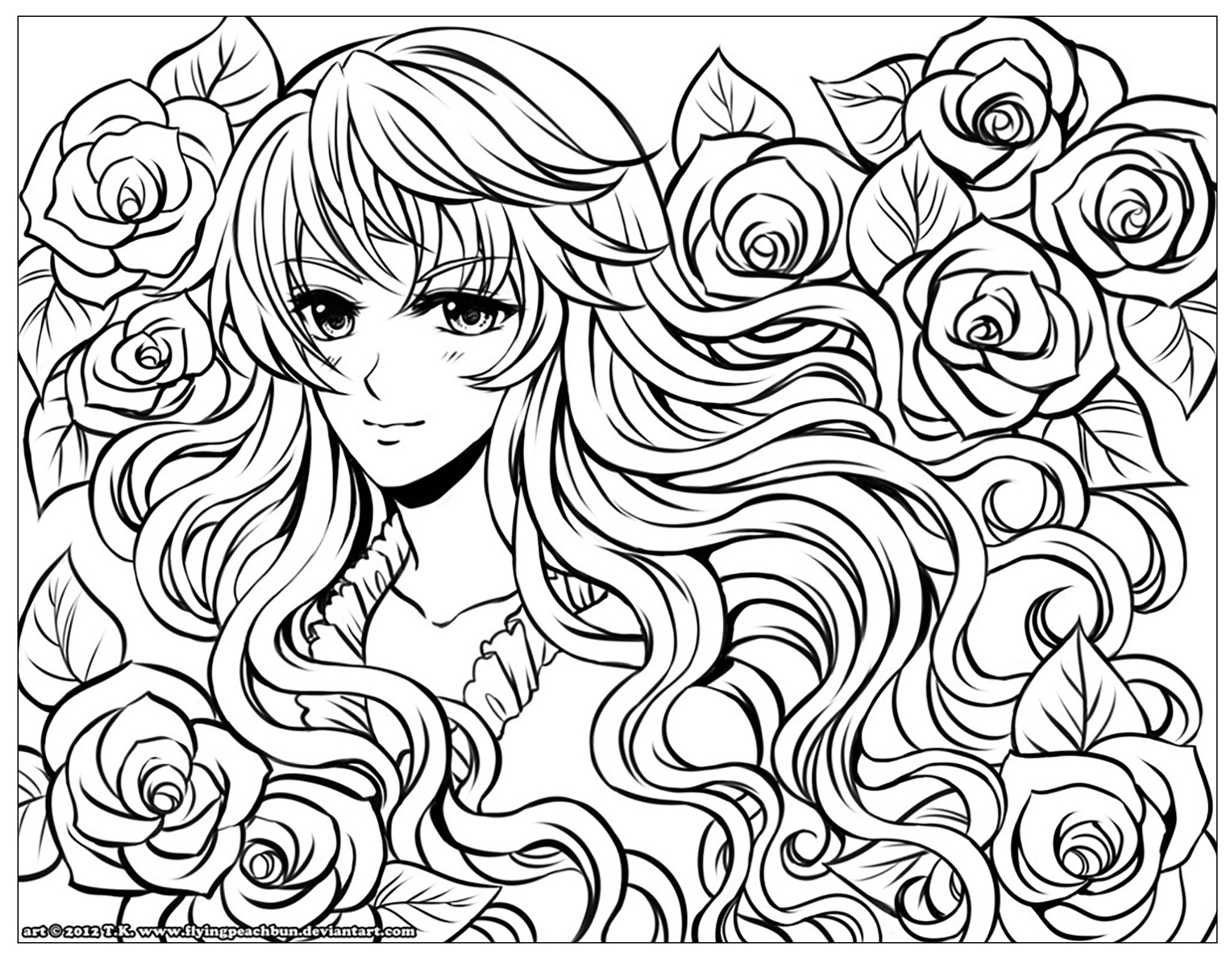 Coloring Pages Anime Manga Girl With Flowers Manga Anime Adult Coloring Pages