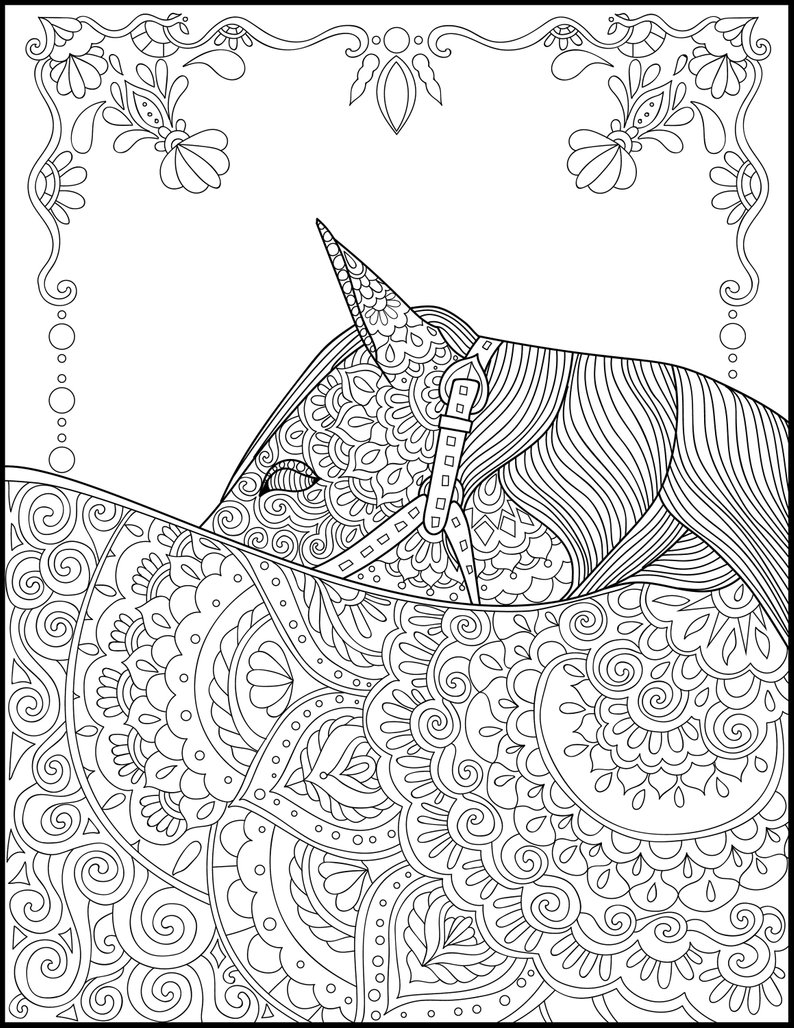 Coloring Pages Horses Printable Coloring Page Adult Coloring Pages Horse Etsy