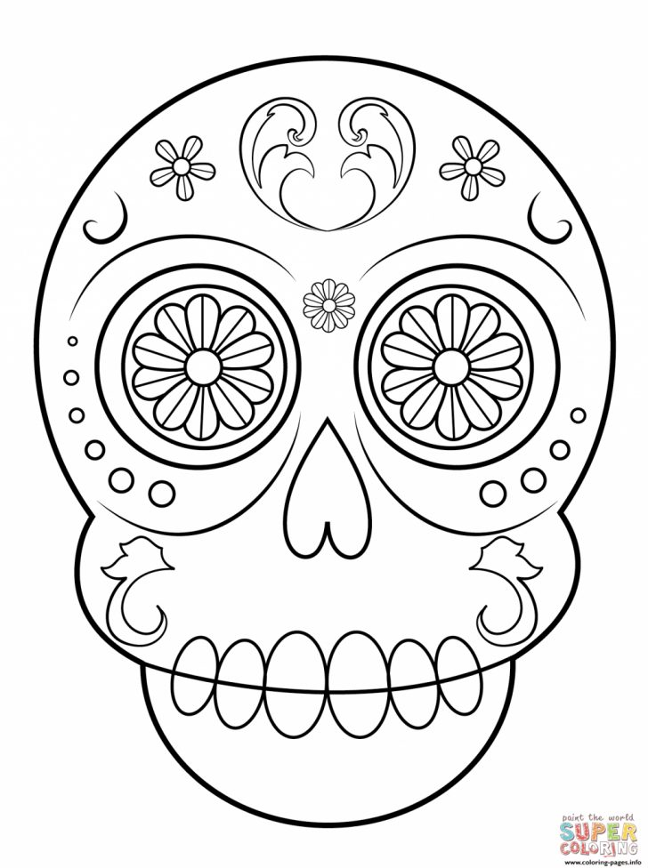 Coloring Pages To Print Coloring Pages Coloring Pages Print Sugar Skull Simple Easy Arts