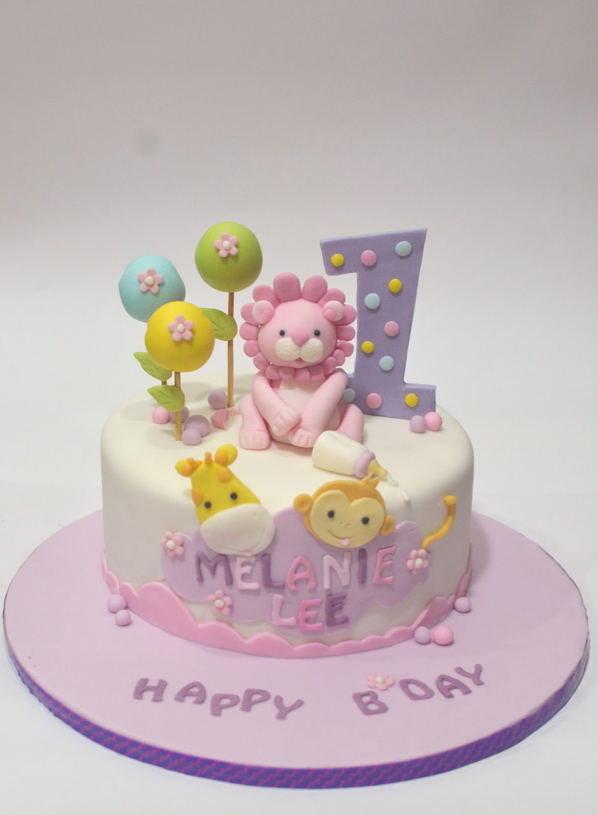Cute Birthday Cakes Mom And Daughter Cakes Cute Safari Animals Cake For One Year Old