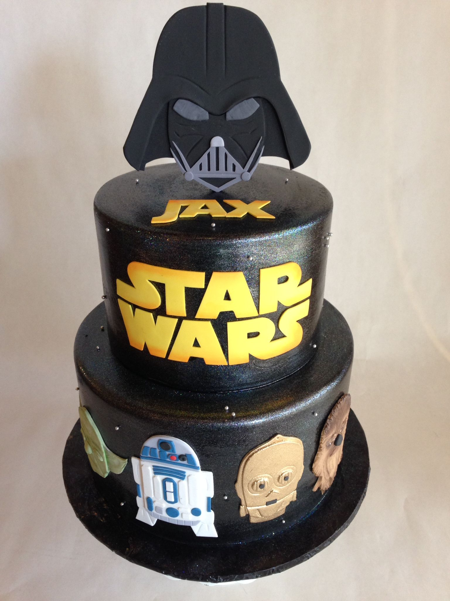 Darth Vader Birthday Cake Birthday Cake Star Wars Fondant Darth Vader R2d2 Yoda