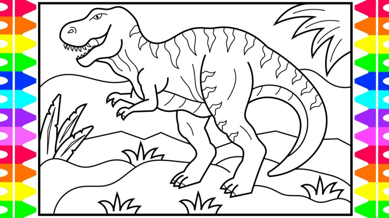 Dinosaur Coloring Pages How To Draw A Dinosaur For Kids Dinosaur Drawing Dinosaur