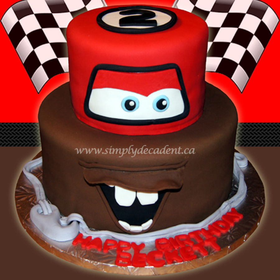 Disney Cars Birthday Cake 2 Tier Disney Cars Fondant Lightening Mcqueen Mator Birthday Cake