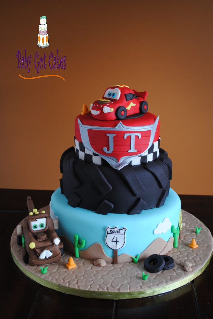 Disney Cars Birthday Cake Cars Three Tier This Is A 3 Tier Covered In Fondant Lightning