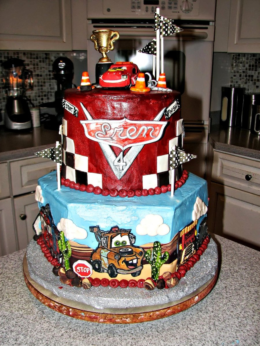Disney Cars Birthday Cake Disney Cars 2 4th Birthday Cake The Top Tier Was Checkerboard