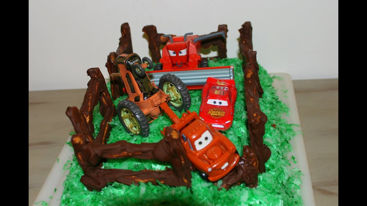 Disney Cars Birthday Cake Easy Cars Tractor Tipping Cake For A Disney Cars Birthday Party