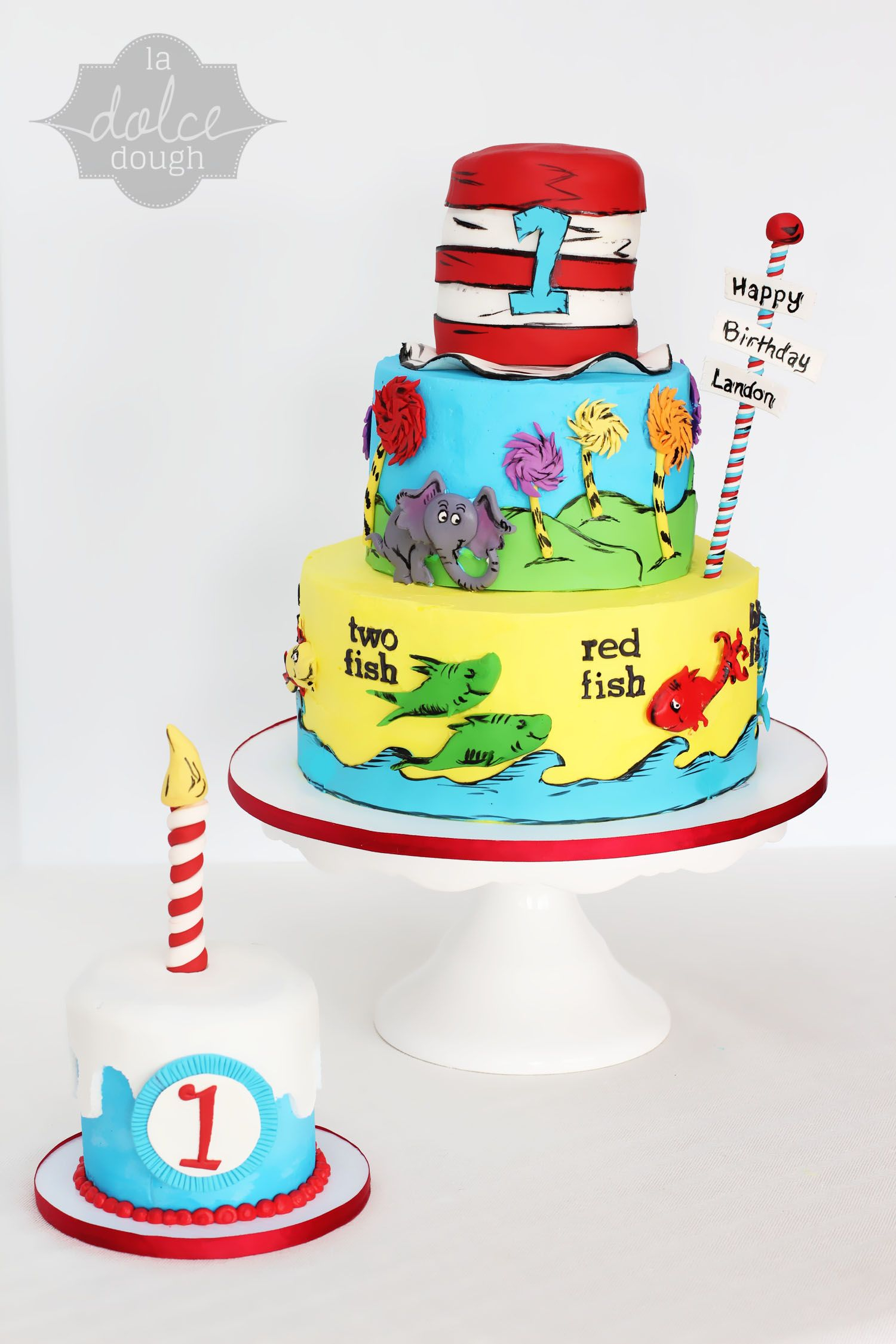 Dr Seuss Birthday Cakes Dr Seuss 1st Birthday Cake And Smash Cake La Dolce Dough