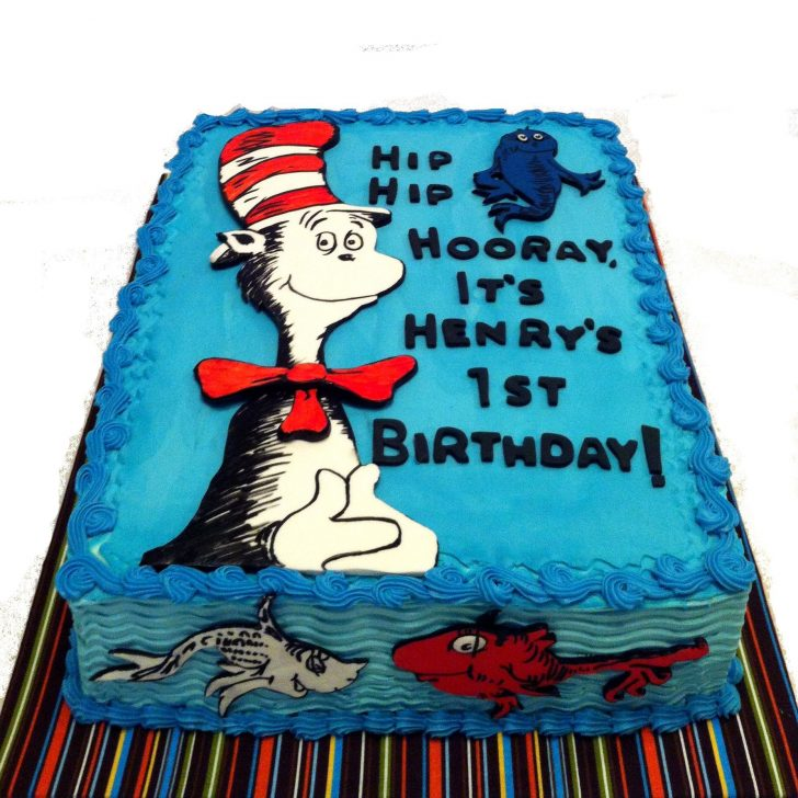 Dr Seuss Birthday Cakes May 2013 Dr Seuss Cat In The Hat And One Fish Two Fish The