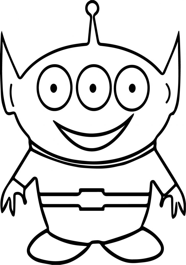 Eye Coloring Page Three Eye Cute Alien Coloring Page Wecoloringpage