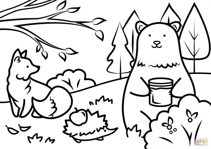 Fall Coloring Page Autumn Animals Coloring Page Free Printable Coloring Pages