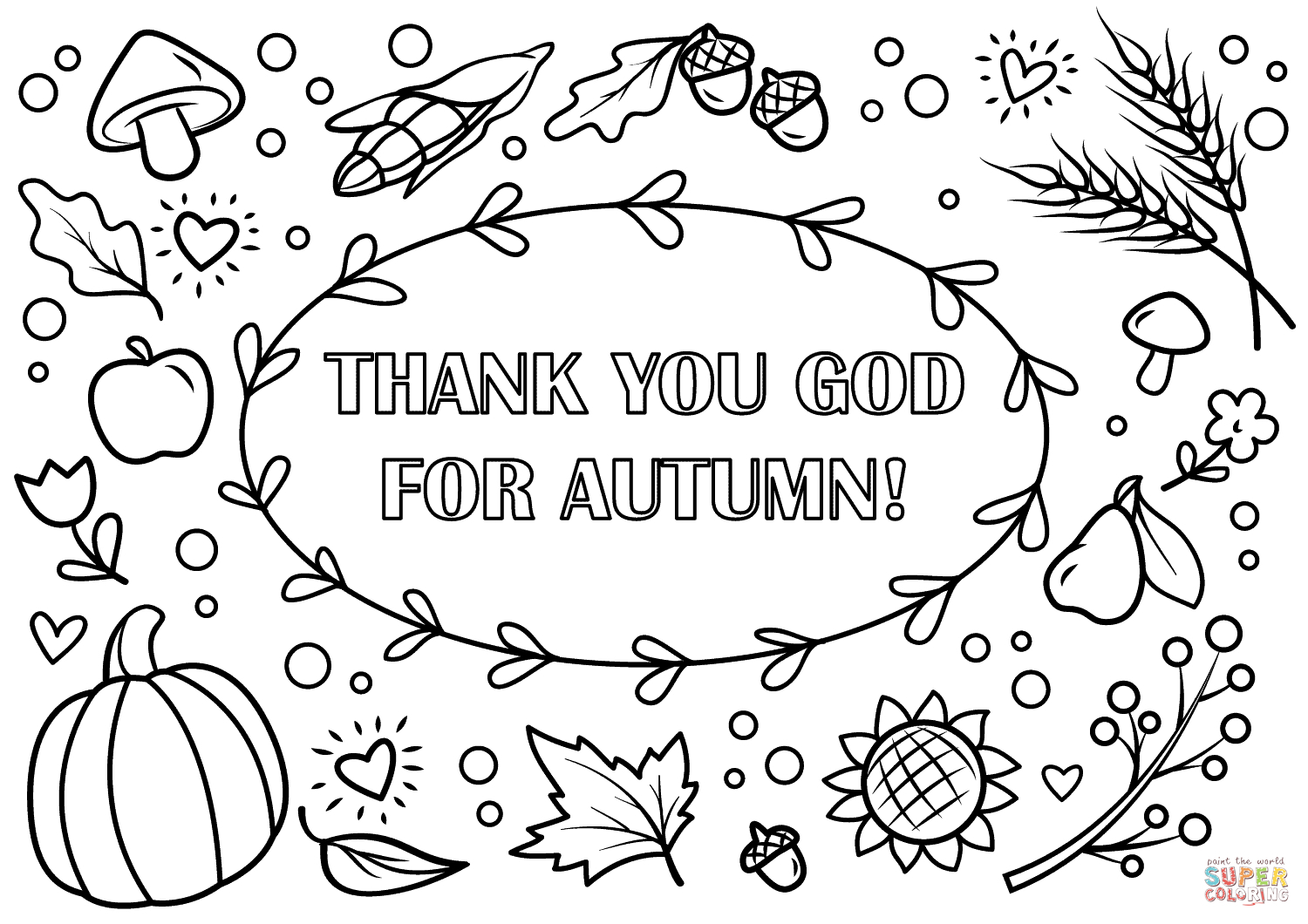Fall Coloring Page Fall Coloring Pages Printable Thank You God For Autumn Coloring