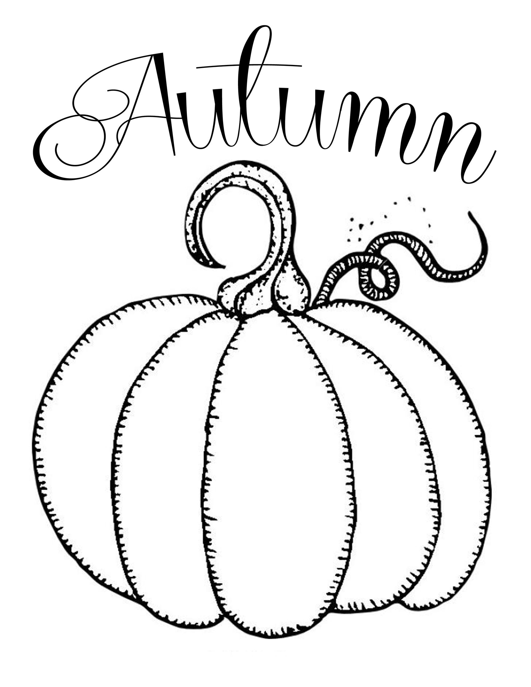 Fall Coloring Page Free Printables Chalkboard Autumn Pumpkin Fonts And New Printable