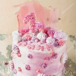 Fancy Birthday Cakes Pink And Violet Fancy Birthday Cake Stock Photo Teelesswonder