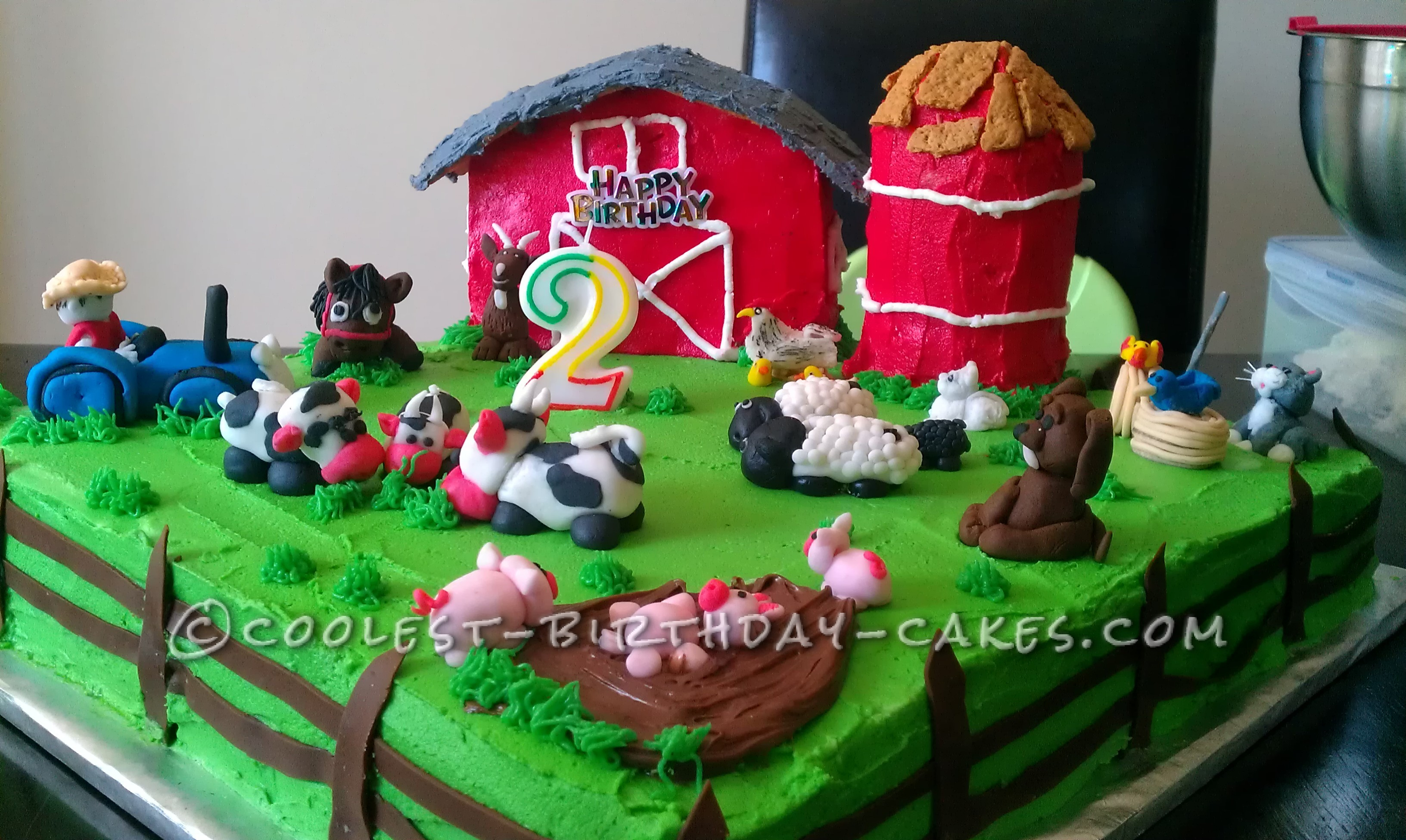Farm Birthday Cake Coolest Farm Scene Birthday Cake