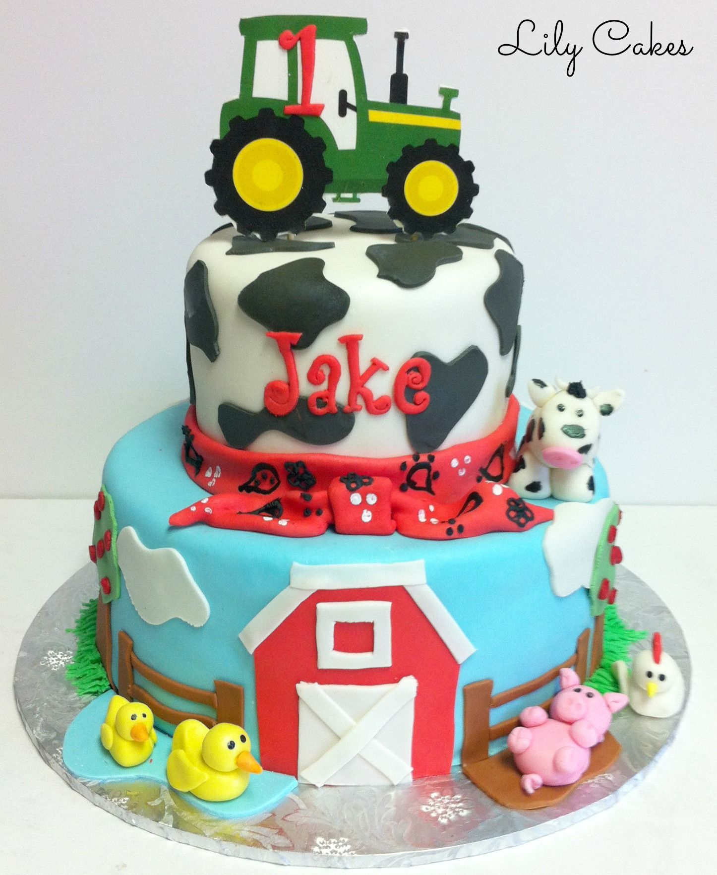 Farm Birthday Cake Farm Animal Themed First Birthday Cake Kids Birthday Cakes