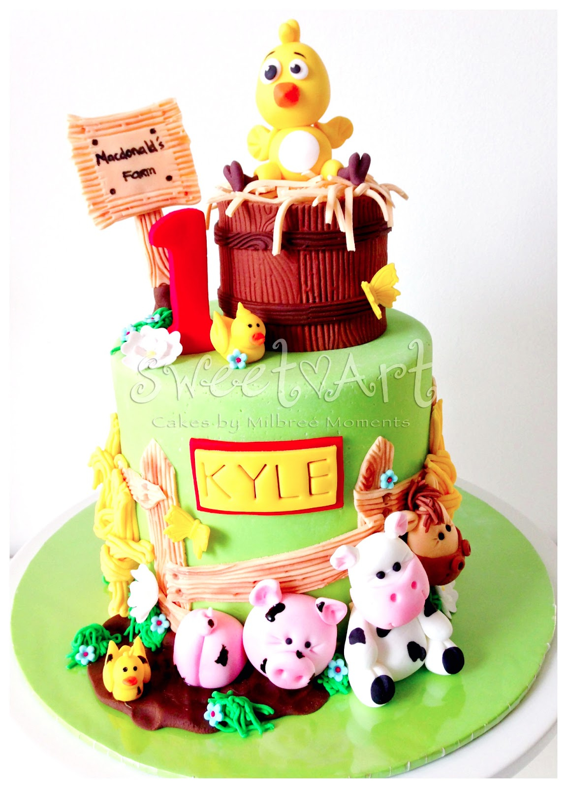 Farm Birthday Cake Sweet Art Cakes Milbre Moments Kyles Farm Animals 1st Birthday