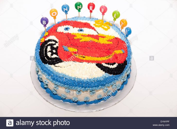 Flash Birthday Cake A Happy Birthday Cake With Flash Mcqueen From Cars Decoration Stock