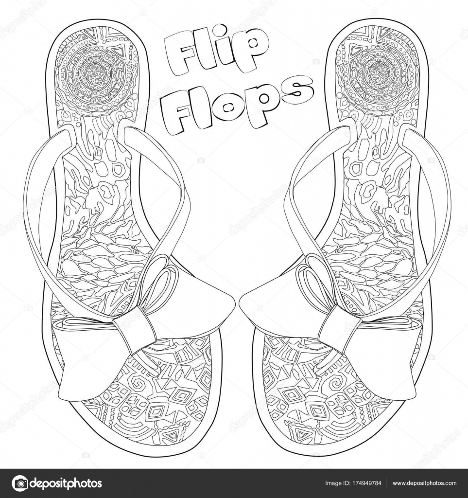 Flip Flop Coloring Pages Coloring Page For Adults Flip Flops With Bows Art Therapy Stock