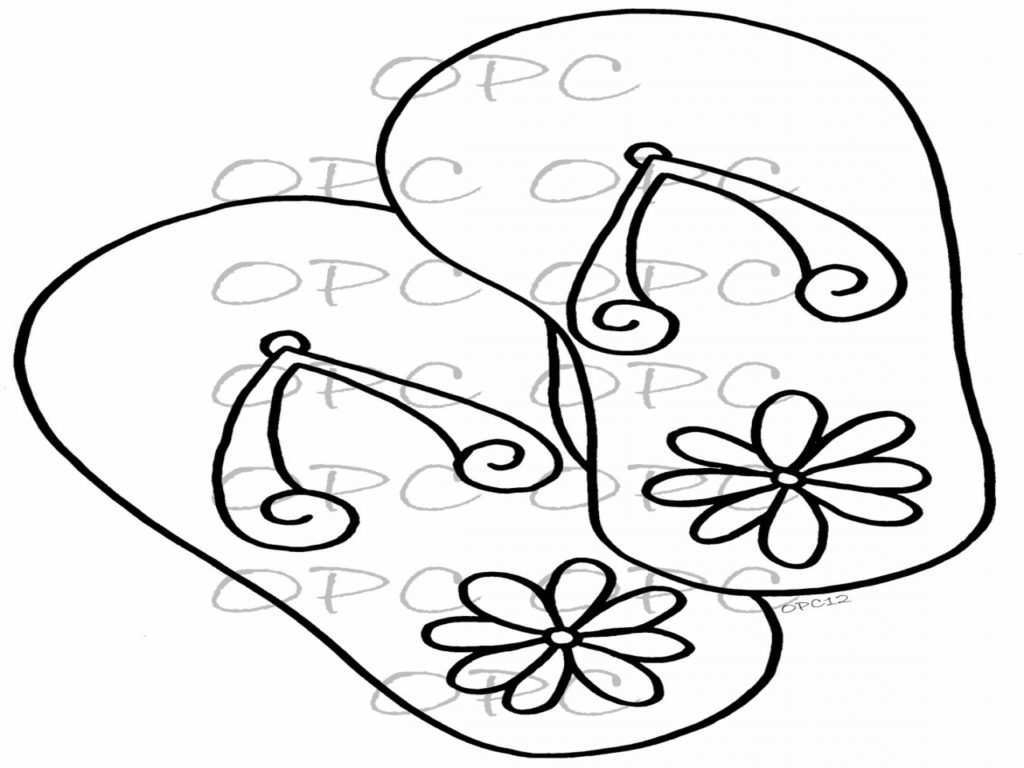 Flip Flop Coloring Pages Flip Flop Coloring Page Awesome Hand Drawn Throughout
