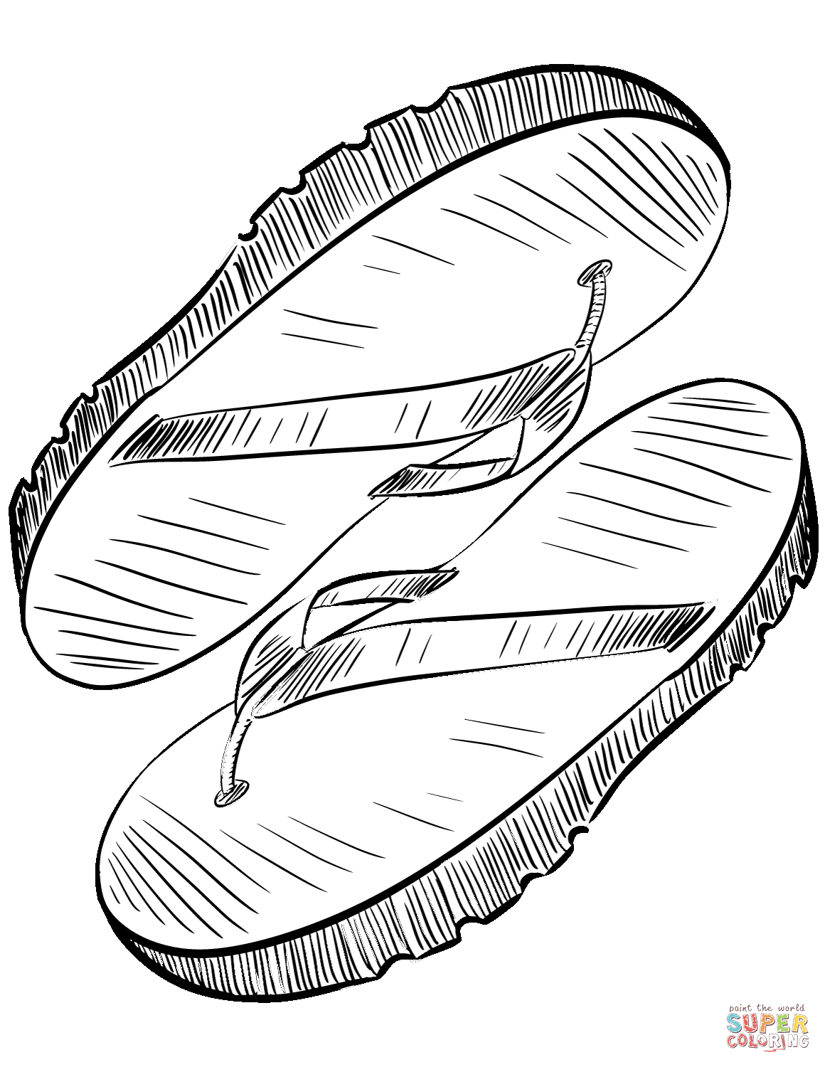 Flip Flop Coloring Pages Flip Flops Coloring Page Free Printable Coloring Pages