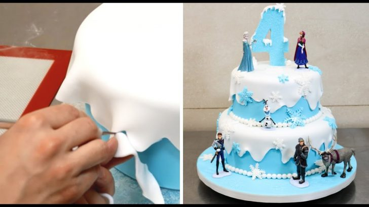 Frozen Themed Birthday Cakes How To Make A Frozen Disney Cake Cakesstepstep Youtube