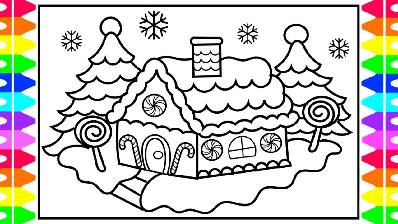 Gingerbread Coloring Pages Christmas Coloring How To Draw And Color A Gingerbread House Kids