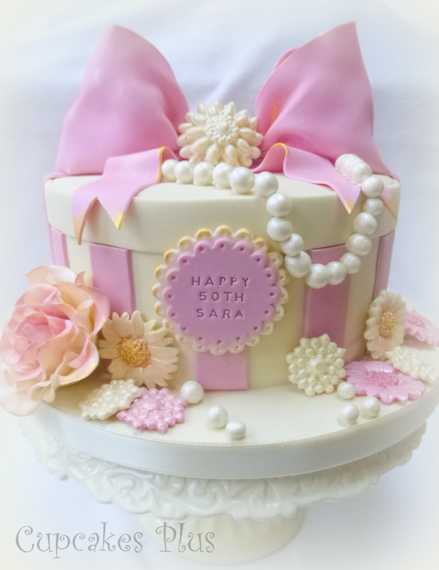 Girly Birthday Cakes Pink And Girly 50th Birthday Cake X Cakecentral