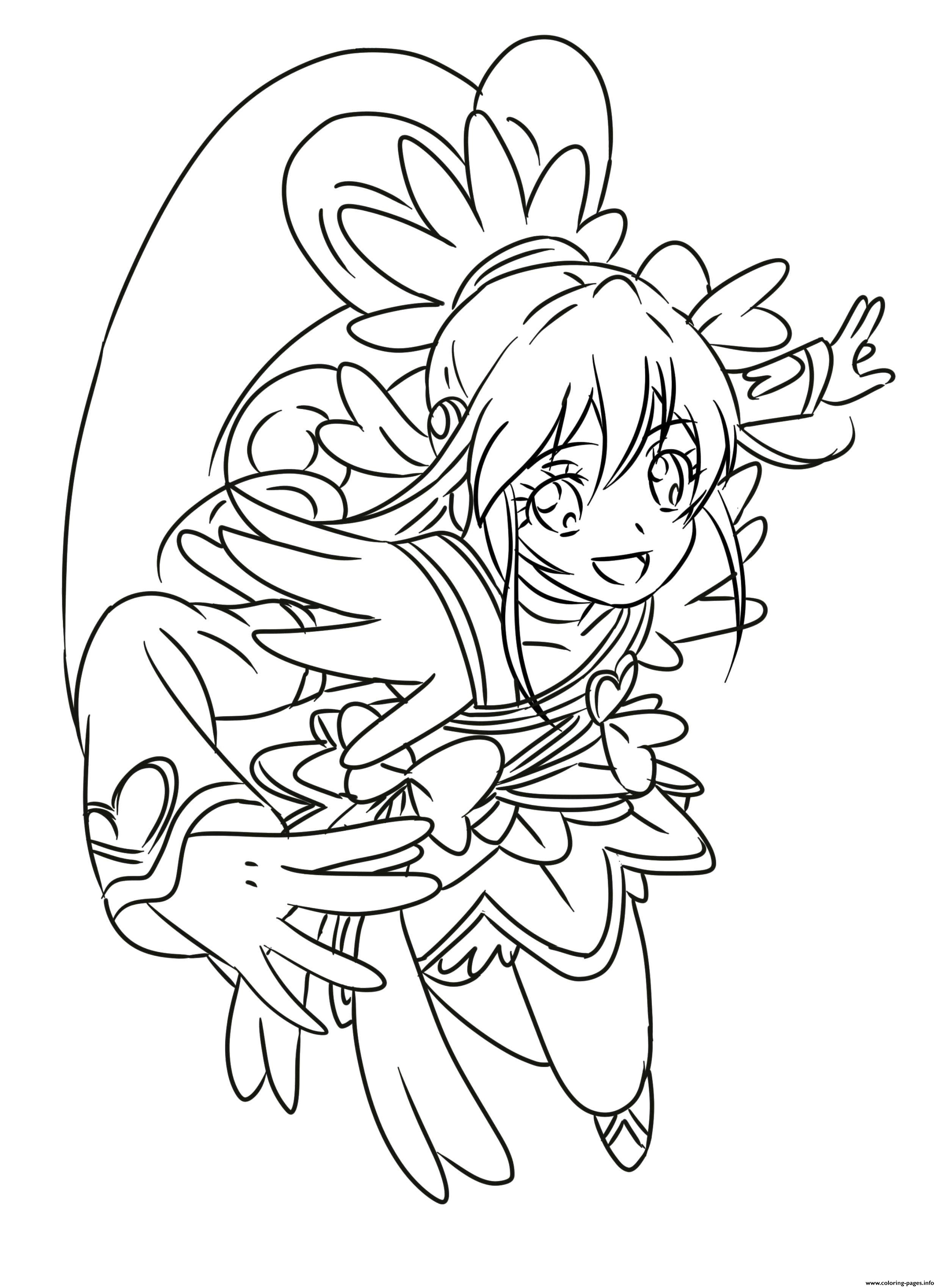 Glitter Force Coloring Pages Cure Heart Precure Glitter Force Coloring Pages Printable