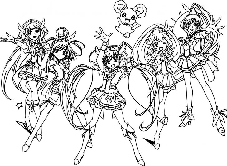 Glitter Force Coloring Pages Glitter Force All Group Team Coloring Page Wecoloringpage