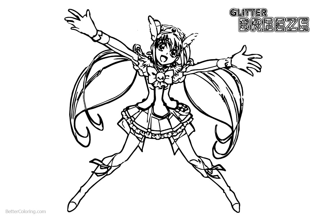 Glitter Force Coloring Pages Glitter Force Coloring Pages Happy Precure Girl Free Printable