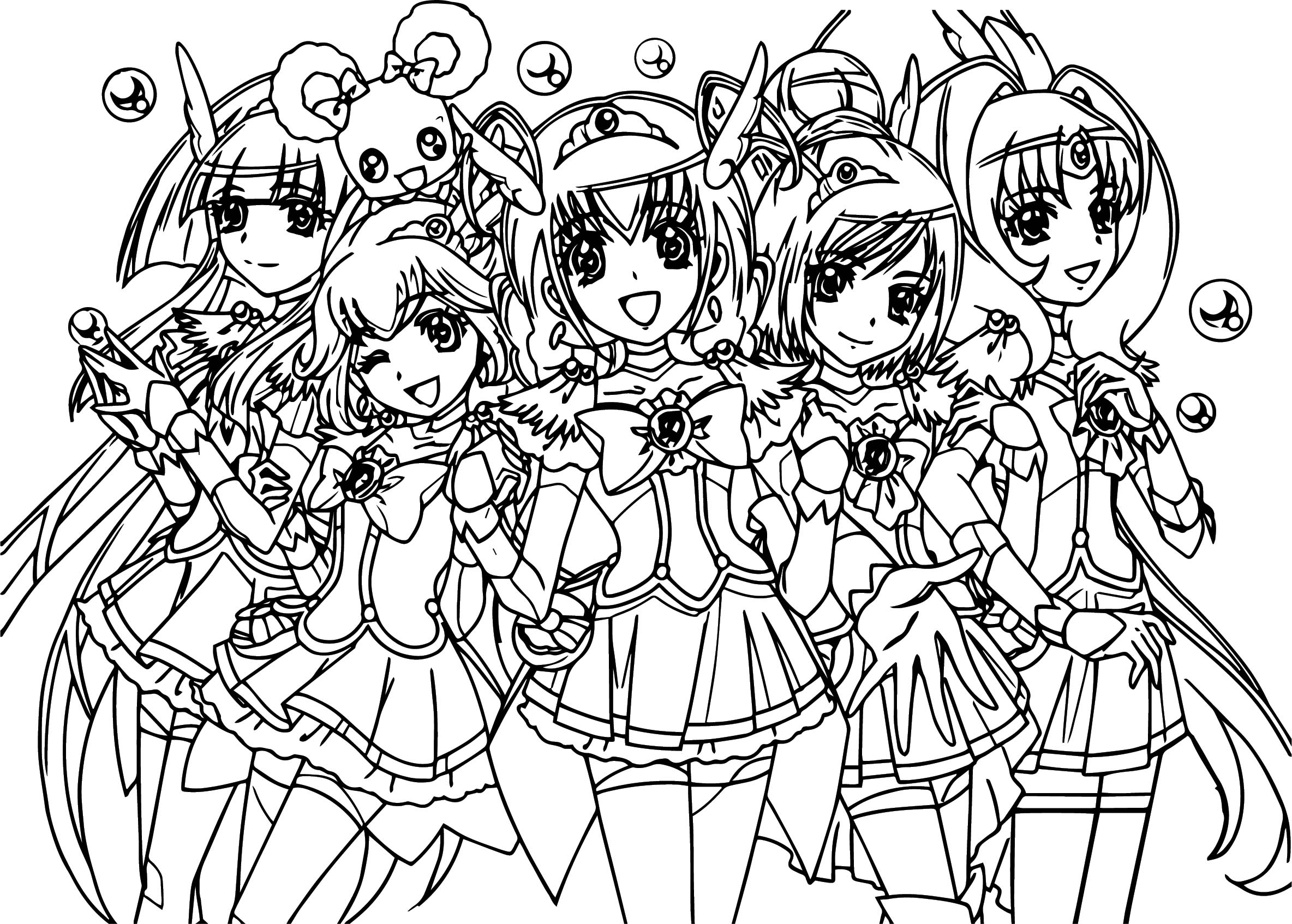 Glitter Force Coloring Pages Smile Precure Glitter Force Team Coloring Page Wecoloringpage