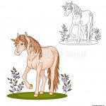 Grass Coloring Page Photo Art Print Coloring Page Beautiful Cute Unicorn On The Grass