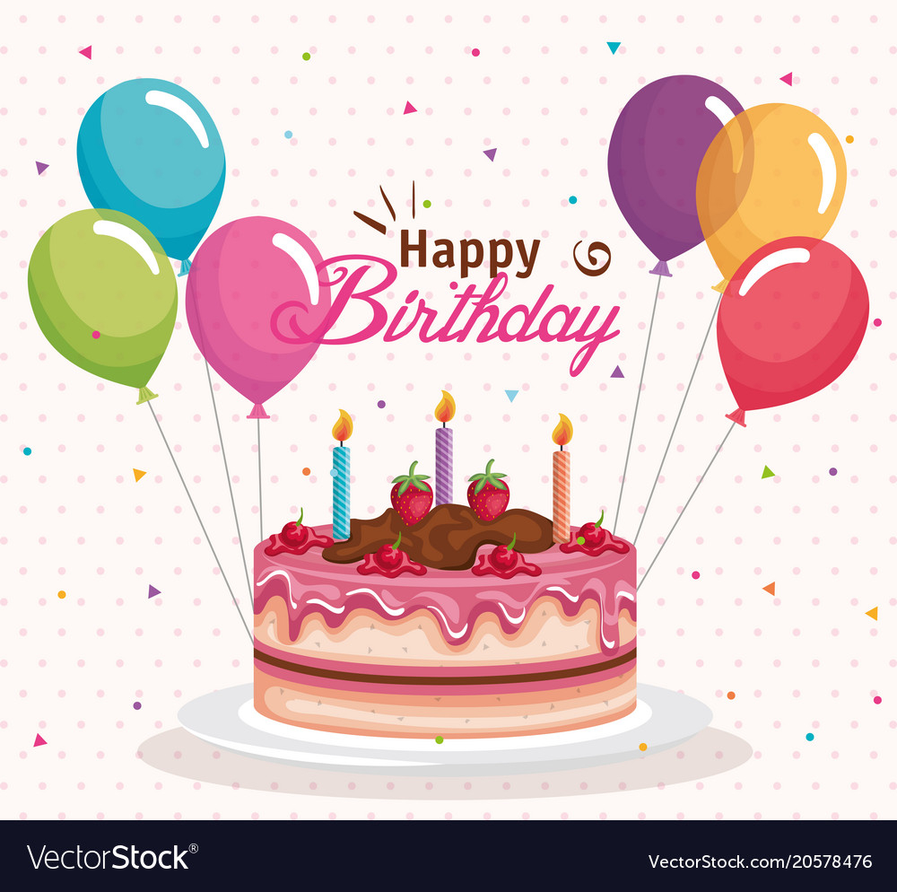 Happy Birthday Cakes Pictures Happy Birthday Cake With Balloons Air Celebration Vector Image