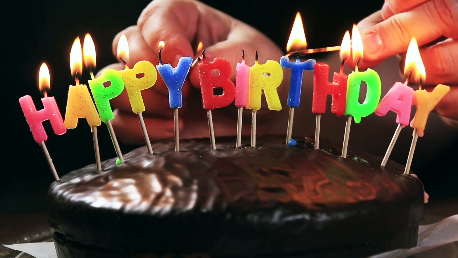 Happy Birthday Cakes Pictures Lighted Candles On A Happy Birthday Cake Candles With The Words
