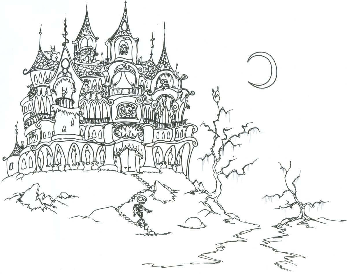 Haunted House Coloring Pages 25 Free Printable Haunted House Coloring Pages For Kids