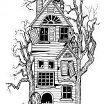 Haunted House Coloring Pages Halloween Big Haunted House Halloween Adult Coloring Pages